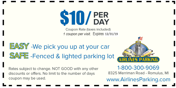 Detroit Airport Parking Coupon Romulus MI